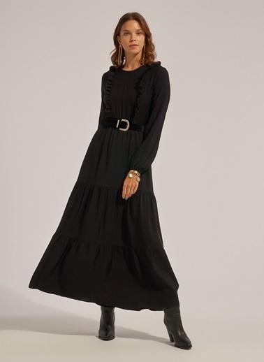 Monamoda Yakası Fırfırlı Beli Lastikli Maxi Boy Elbise Siyah